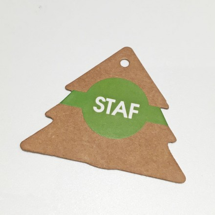 kraft kaartje kerstboom + label