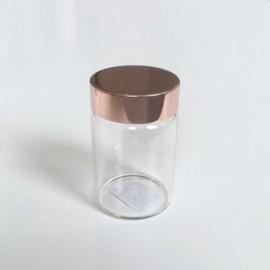 glazen potje met rose gold deksel
