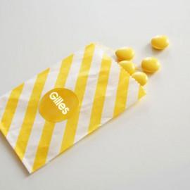 papieren snoepzakje geel/wit gestreept