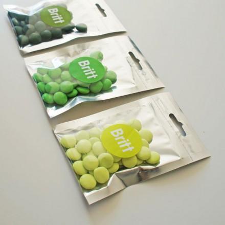 zilveren / transparant snoepzakje  + label