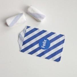 papieren snoepzakje donkerblauw/wit gestreept + label