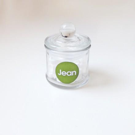 klein glazen potje + label